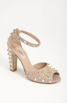 valentino studded sandal in poudre leather