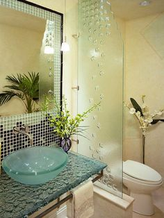 fascinating glass countertop -- Soaking Tub Surrounded by Green Mosaic Tile : Designers' Portfolio : HGTV - Home & Garden Television