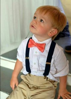 Coral and Navy Wedding...ring bearer!