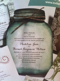 Love, love, love the vintage blue mason jar wedding invitation!! I think this is a MUST have!!
