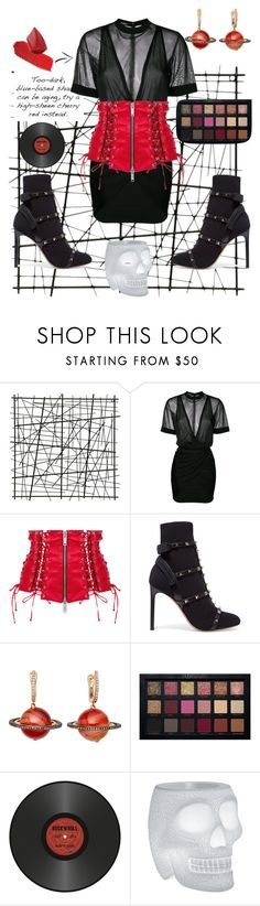 """red wine"" by petrescudenisa on Polyvore featuring Balmain, Unravel, Valentino, Astley Clarke, Pôdevache and Qeeboo"