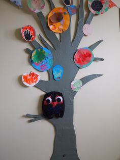 Large cardboard tree decorated with my son's artwork from nursery. Detachable owl for story telling. Cardboard Tree, Tree Decorations, Owl, Nursery, Homemade, Artwork, Day Care, Work Of Art, Nursery Tree Mural