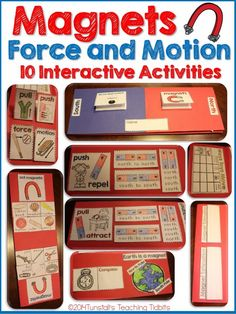 "This magnets, force, and motion unit provides interactive, engaging, hands-on, STEM learning about magnets, force and motion, movement, push and pull, compass, poles, teaching magnets, attract repel, how things move, north south. Use these activities for a science notebook, a science journal, or a science foldable lap book. Perfect for Kindergarten, first grade, and second grade. To learn more about ""Five for Friday"", visit www.tunstallsteachingtidbits.com"
