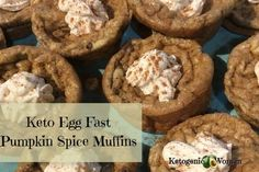 These keto egg fast pumpkin spice muffins are delicious on their own or you can top them with the cream cheese frosting. A perfect low carb fall treat! Pumpkin Spice Waffles, Pumpkin Spice Latte, Eggfast Recipes, Keto Egg Recipe, Keto Egg Fast, Keto Buns, Sugar Free Syrup, Low Carb, Woman