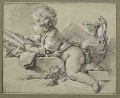 The Athenaeum - A Putto on a Pedestal (François Boucher - ) Figure Drawing, Painting & Drawing, Kunsthistorisches Museum, Vintage Illustration, Human Anatomy Drawing, Grisaille, Classic Paintings, Old Master, Chalk Art