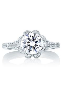 Deco Floral Halo Engagement Ring, MES645 by A. JAFFE // More from A. JAFFE: http://www.theknot.com/gallery/wedding-rings/A. JAFFE