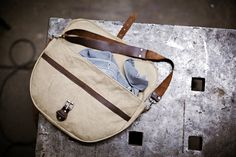 canvas and leather shoulder bag ( by forest bound)