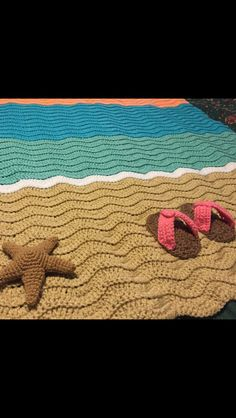 Beach, Summer, Flip Flops, Starfish, Throw Blanket, Ocean Blanket, Crochet by notrichnotfamous on Etsy