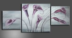painted pictures of purple cala lilies | NOWA STUDIO CONTEMPORARY CANVAS ABSTRACT ART PAINTING | eBay