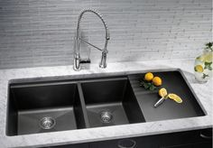 Slate Black Undermount Kitchen Sinks With Drainer