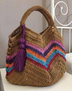 Ideas Crochet Purse Handles Granny Squares For 2019 Crochet Beach Bags, Crochet Market Bag, Crochet Tote, Crochet Handbags, Crochet Purses, Knit Crochet, Pixel Crochet, Crochet Granny, Diy Bags Purses