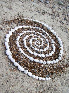 Galaxy.  Pebble spiral, Worthing Beach, UK (land art by Dishtwiner).