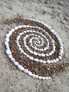 Galaxy.  Pebble spiral, Worthing Beach, UK (land art by Dishtwiner).