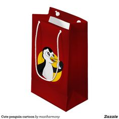 Cute penguin cartoon small gift bag
