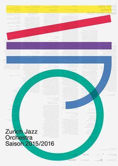 """garadinervi: """" Studio Katja Gretzinger, Zurich Jazz Orchestra, Poster and postcards, Season 2015/2016 """""""