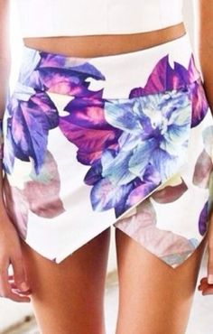 Purple Flowers Printing Irregular Hem Fashion Skirt