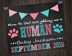 Pet Parents Baby Announcement by SweetTeaSpecialties on Etsy