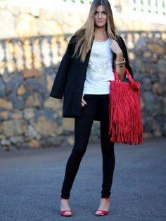 marilynscloset Outfit   Primavera 2013. Combinar Bolso Rojo oscuro suiteblanco, Tacones-Plataformas Rojo oscuro Zara, Camiseta Blanca s