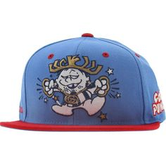 Gold Punch Starter Snapback cap in carolina blue and red