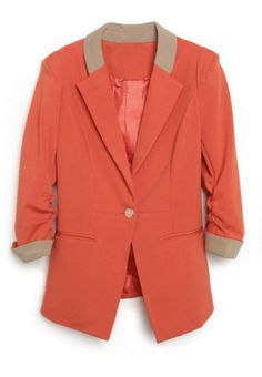 Orange Single Button Alice Shoulder Fitted Suit