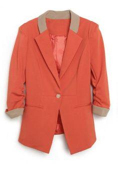 Orange Single Button Alice Shoulder Fitted Suit