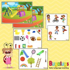 -- Playground Barrier Game for Vocabulary Development -- This barrier game includes a playground scene, 33 objects, 6 characters, full instructions and preparation requirements. -- Key words: barrier, game, language, development, vocabulary, speech, therapy, pathology, printable, downloadable.
