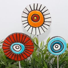 set of 3 funky garden art abstract garden stakes by TORIART, €15.00