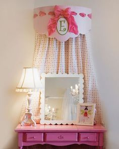 Girls vanity with monogram and hanging curtain and cornice: upside down bed crown?