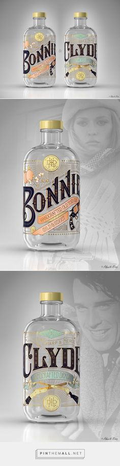 BONNIE & CLYDE Gin by Bert Heynderickx. Pin curated by packaging and label design Beverage Packaging, Bottle Packaging, Pretty Packaging, Brand Packaging, Design Packaging, Bottle Labels, Beer Labels, Coffee Packaging, Packaging Ideas