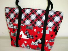 Tote.. Scotty dogs red black