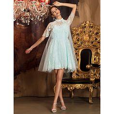 Knee-length Tulle / Lace Bridesmaid Dress - Sky Blue Plus Sizes / Petite A-line High Neck – USD $ 89.99