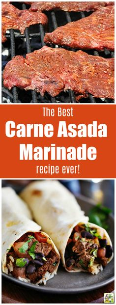 Looking for an easy carne asada burrito or taco recipe? Try the Best Carne Asada Recipe Ever! This carne asada marinade recipe is so easy that you'll never bother with Mexican take out again. Terrific for parties or tailgating! Authentic Mexican Recipes, Healthy Mexican Recipes, Mexican Chicken Recipes, Mexican Breakfast Recipes, Easy Chicken Recipes, Beef Recipes, Authentic Mexican Chicken Tacos Recipe, Authentic Carne Asada Recipe, Mexican Desserts