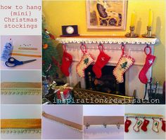 how to hang mini-stockings on a mini-mantel #dollhouse #miniatures #Christmas
