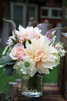 I pretty much LOVE this as a bouquet, and those big flowers in pink and peach with the crazy petals! (peach & pink dinner plate dahlias and roses, pink veronica, scabiosa)