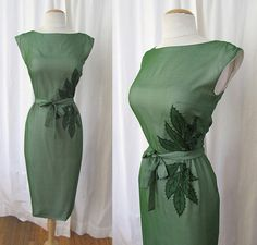 """Chic 1950's Moss Green Silk Wiggle Cocktail Dress w/Embroidery & Matching Belt by """"Charles Cooper Design"""" Pinup Vixen Rockabilly Size- Small"""