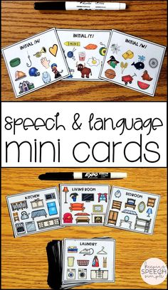 These speech and language mini cards are ideal for the busy or traveling SLP! These small cards allow for 10 targets on each mini card. They reduce table clutter and you can store up to 500 targets with one deck of cards! Use these cards for speech warm-ups, data collection, progress monitoring and RtI sessions. Send home the black lined version for parents so they can support speech and language goals at home. This is a must have resource for any speech room!