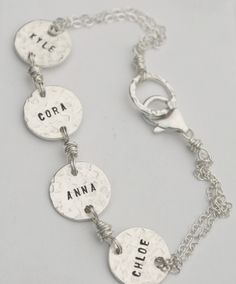 Personalized Mom Bracelet Hand Stamped Sterling Silver Womens Jewlery. $78.00, via Etsy.