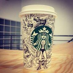 Epic Wonder Woman Starbucks Cup Mod by Amritraj Gupta Starbucks Cup Drawing, Starbucks Cup Art, Starbucks Drinks, Starbucks Coffee, Coffee Cup Art, Coffee Cafe, Hot Coffee, Coffee Shop, Arte Sketchbook