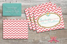 Custom Bridal Shower Thank You Cards with Matching Envelopes | Nautical/Beach Design on Etsy, $1.50