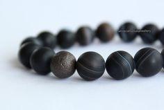 Mens bracelet Black bead bracelet Beaded by whitecamellias on Etsy