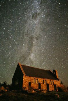 New Zealand -- The low light pollution of Lake Tekapo allows a clear image of the Milky Way above the pretty Church of the Good Shepherd. Visible at the top is the Southern Cross.
