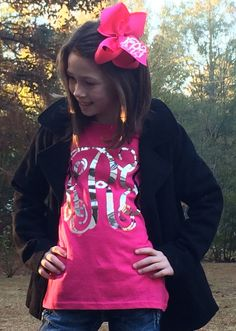 Metallic Monogrammed T Shirt Matching Monogrammed Hair Bow Gold or Silver Monogrammed gifts, Monogram T Shirt for Youth, Girls, Teens, Women...