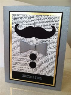 Dictionary background stamp, Bow Builder Punch, Mustache Framlits, gold foil card stock and brushed sver card stock , And Many More stamp set