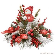 Snowman Tidings #37613 see viviano.com Flower Shop Christmas holiday keepsake arrangement with fresh or silk evergreens $30