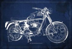1962 TRIUMPH BONNEVILLE Blueprint 8.25x12inches and LARGER Sizes Original Handmade Drawing  Digitally printed on Archival Matte Paper, professional quality. The watermark not appear in prints.  NOTE: Colors may vary from screen to screen. Unframed  Prints will be shipped Rolled In A Cardboard Tube. I send my prints off to their new home within 3-5 days of payment. I ship my international orders by air after Im notified of your payment, and taking between 5to 15 days to arrive.  More…