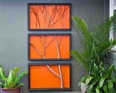 Branch Art: Using basic materials and a garden branch, you can create a striking triptych – a triple-panelled picture where the content extends from one frame to the next. Could be a great home-warming gift/ commemorate a memorable day outdoors. Art Diy, Diy Wall Art, Flur Design, Branch Art, Deco Nature, 3d Prints, Better Homes And Gardens, Tree Wall, Diy Projects To Try