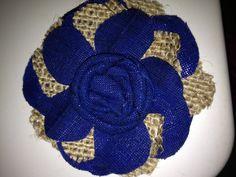 Burlap & blue, flower pin :) great gift idea! www.facebook.com/mybellabeancreations