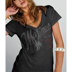 Women's Marines Black V-neck T-shirt | Sgt Grit - Marine Corps Store