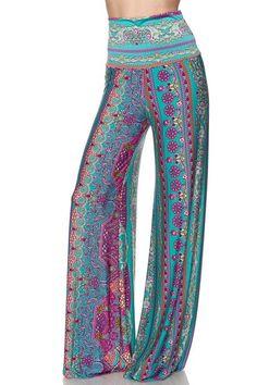 High Waist Fold Over Wide Leg Gaucho Palazzo Pants (Jade Elegance)