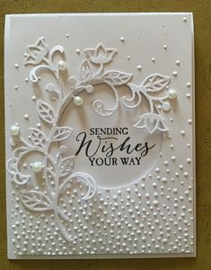 Beautiful Wedding Card Stampin Up - beautiful handmade card all white die cut flourishes and embossing folder little dots 2 Wedding Cards Handmade, Beautiful Handmade Cards, Handmade Engagement Cards, Homemade Wedding Cards, Homemade Cards, Handmade Greetings, Greeting Cards Handmade, Pinterest Birthday Cards, Pinterest Cards